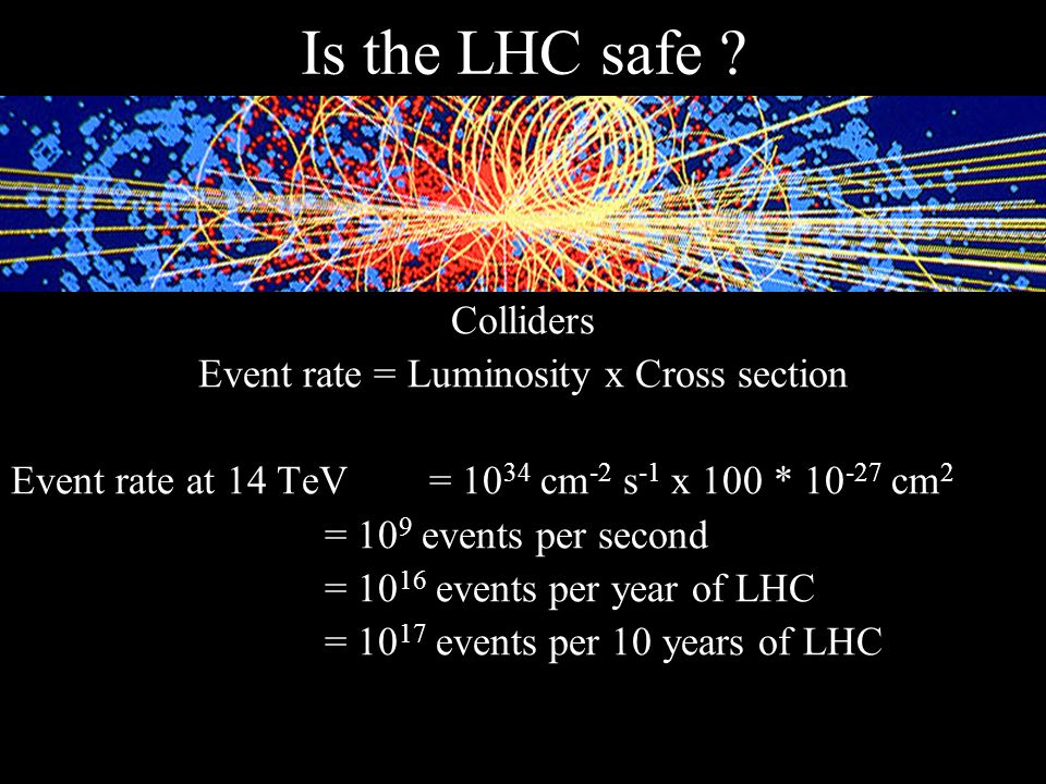 Event rate = Luminosity x Cross section