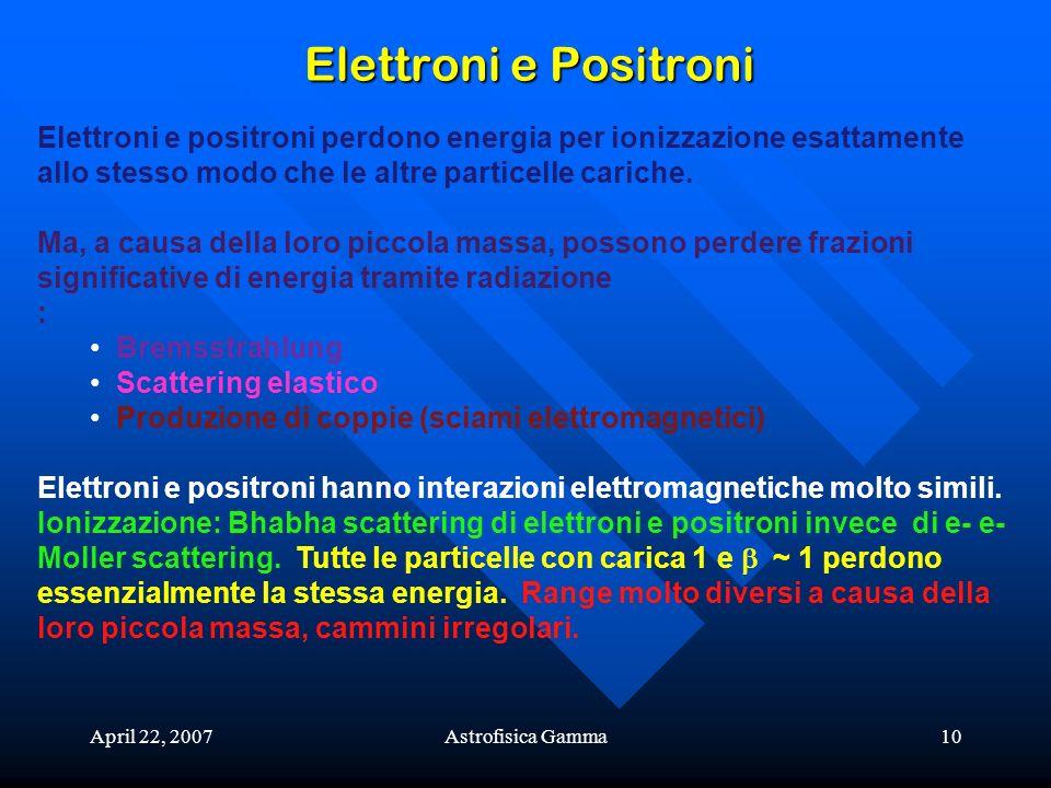 Elettroni e Positroni Elettroni e positroni perdono energia per ionizzazione esattamente allo stesso modo che le altre particelle cariche.