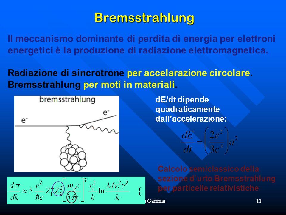 Bremsstrahlung Il meccanismo dominante di perdita di energia per elettroni energetici è la produzione di radiazione elettromagnetica.