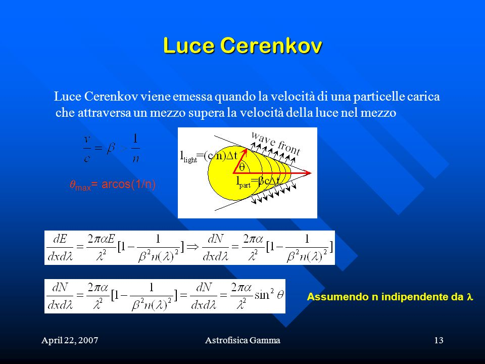 Luce Cerenkov Luce Cerenkov viene emessa quando la velocità di una particelle carica che attraversa un mezzo supera la velocità della luce nel mezzo.