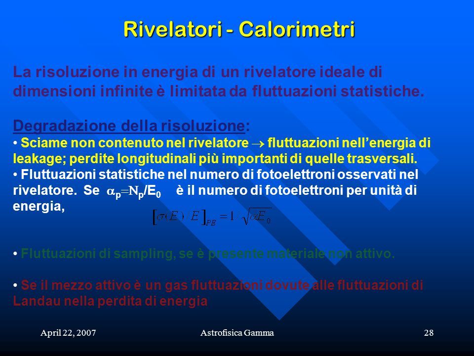 Rivelatori - Calorimetri