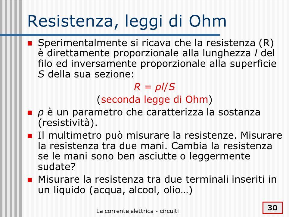 Resistenza, leggi di Ohm