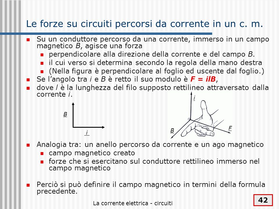 Le forze su circuiti percorsi da corrente in un c. m.