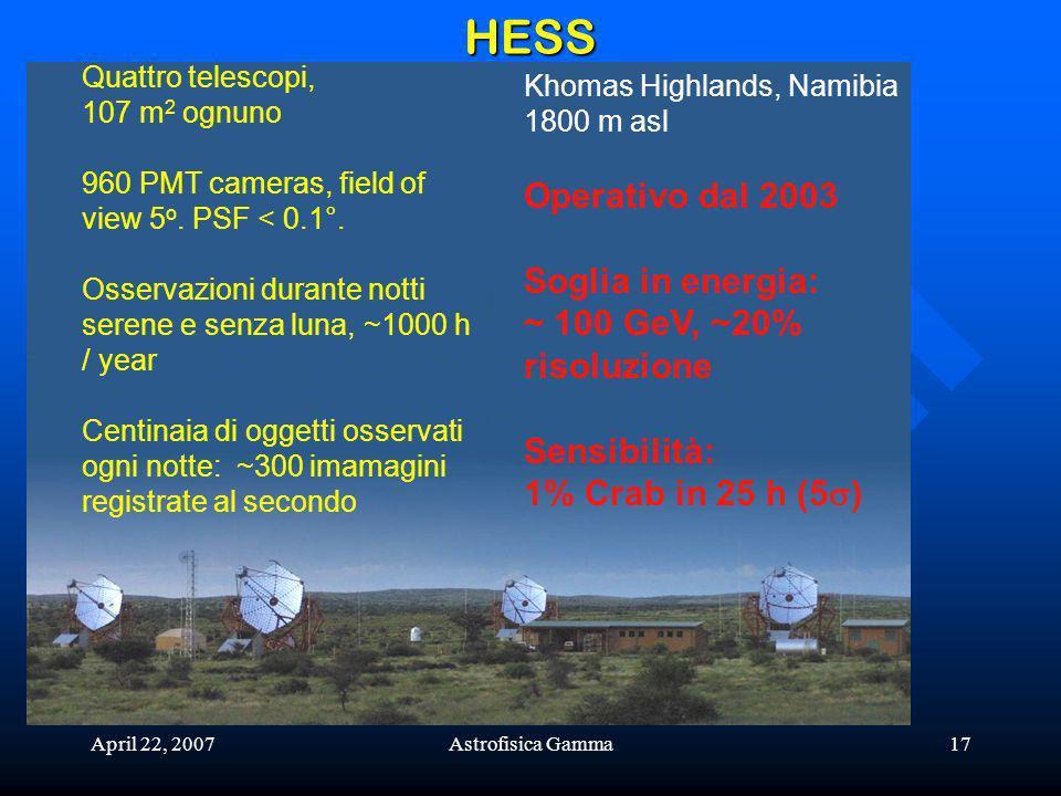 HESS Operativo dal 2003 Soglia in energia: ~ 100 GeV, ~20% risoluzione