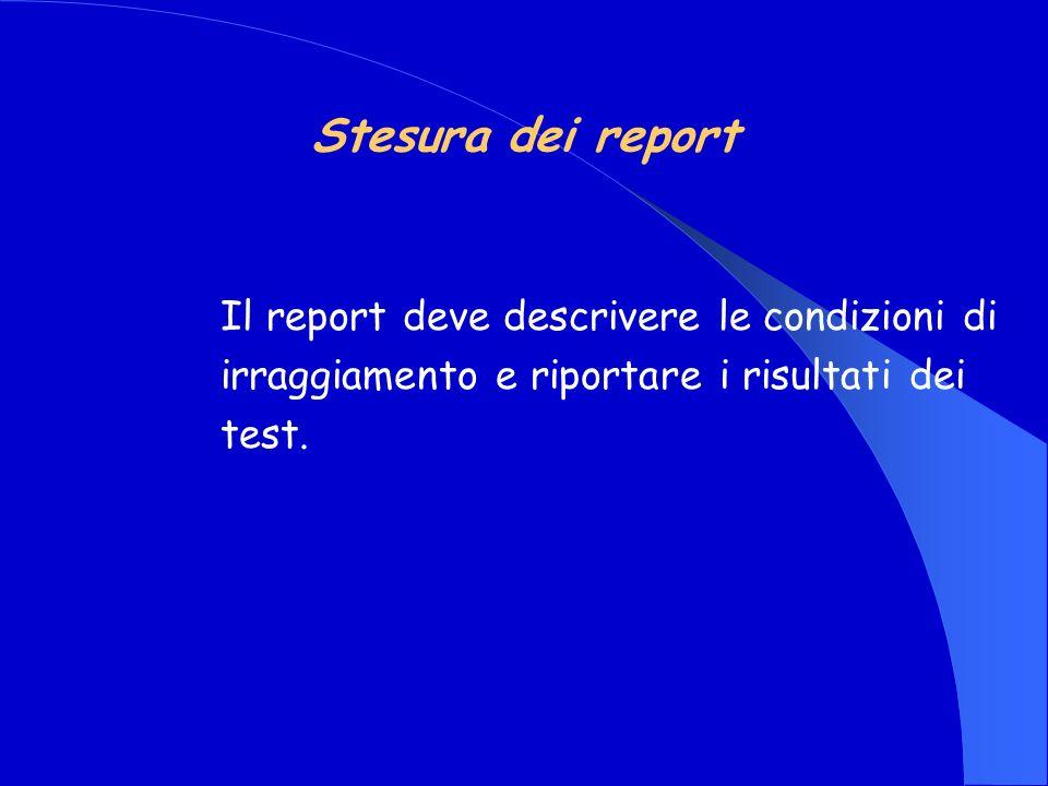 Stesura dei report Il report deve descrivere le condizioni di