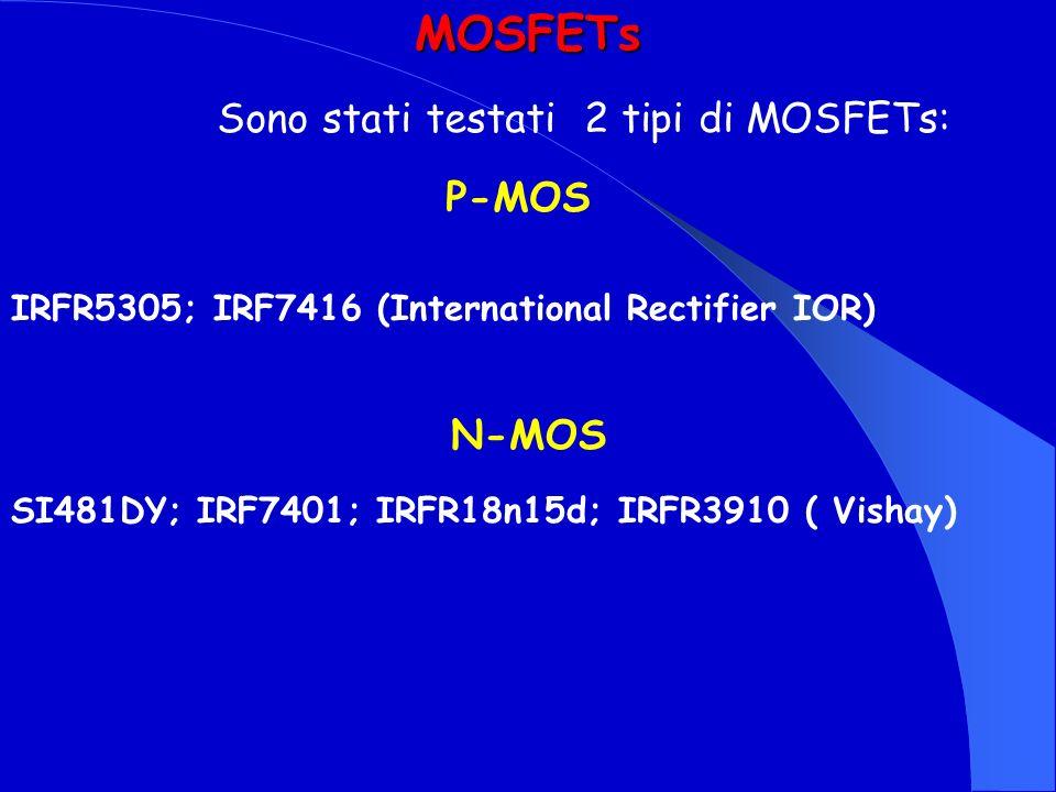MOSFETs Sono stati testati 2 tipi di MOSFETs: P-MOS N-MOS