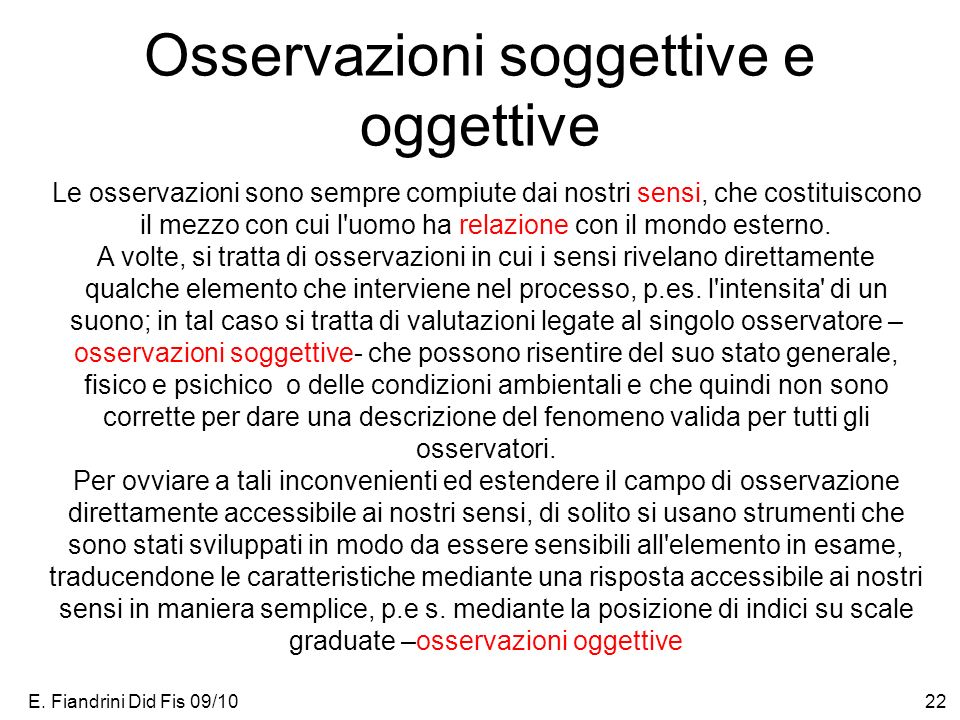 Osservazioni soggettive e oggettive