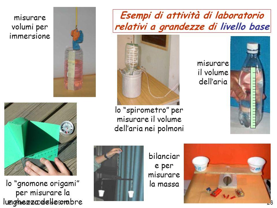 Esempi di attività di laboratorio relativi a grandezze di livello base