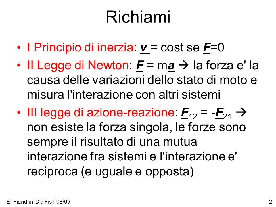 Richiami I Principio di inerzia: v = cost se F=0