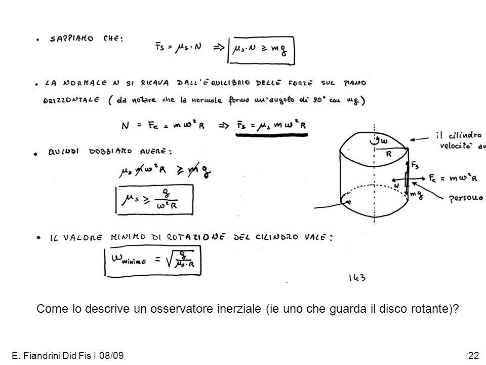 Come lo descrive un osservatore inerziale (ie uno che guarda il disco rotante)
