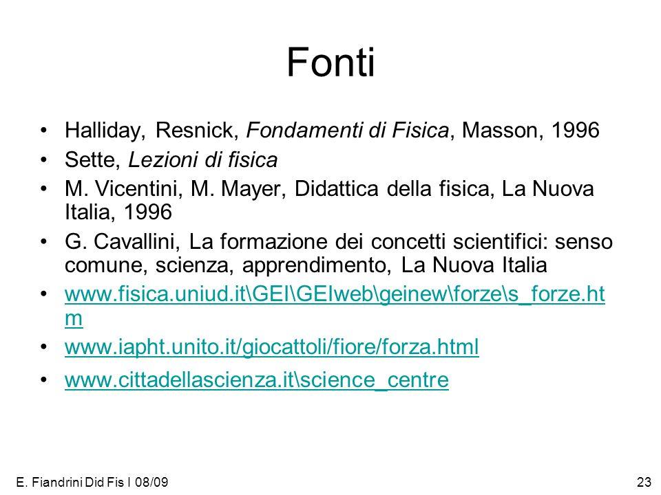 Fonti Halliday, Resnick, Fondamenti di Fisica, Masson, 1996