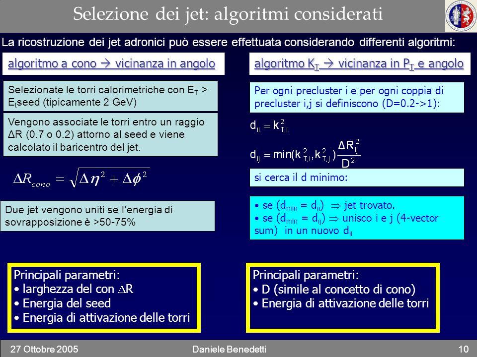 Selezione dei jet: algoritmi considerati