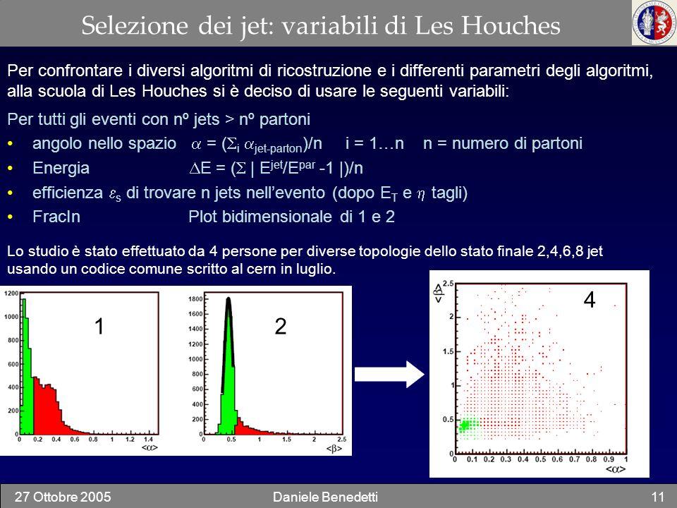 Selezione dei jet: variabili di Les Houches