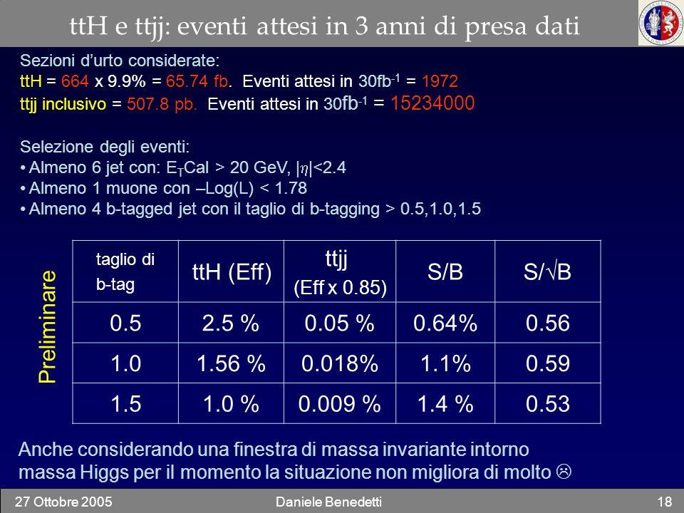 ttH e ttjj: eventi attesi in 3 anni di presa dati