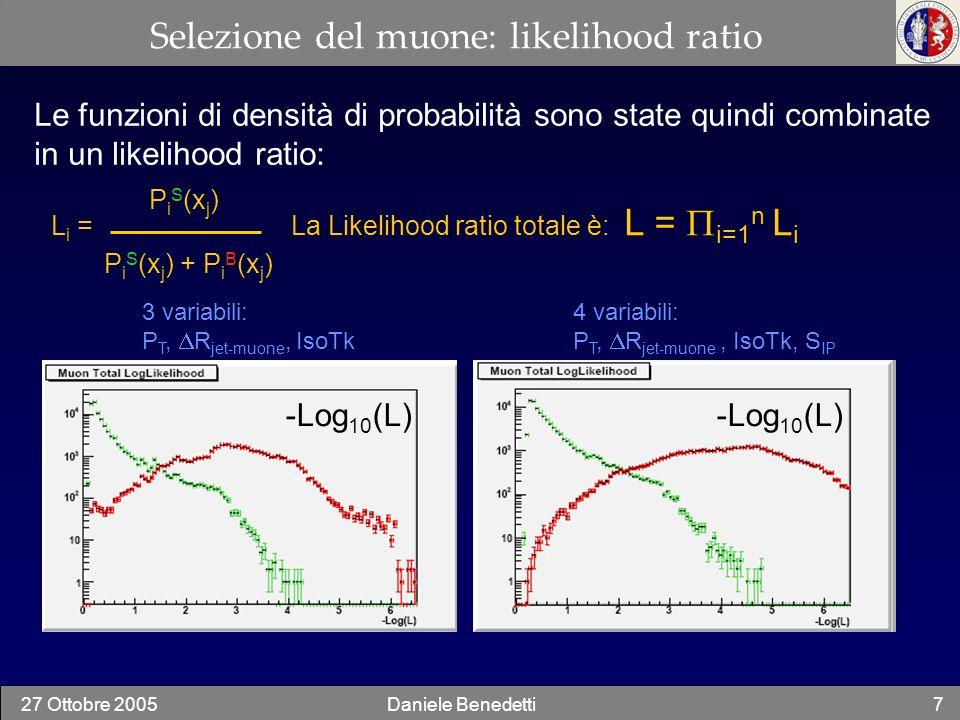 Selezione del muone: likelihood ratio