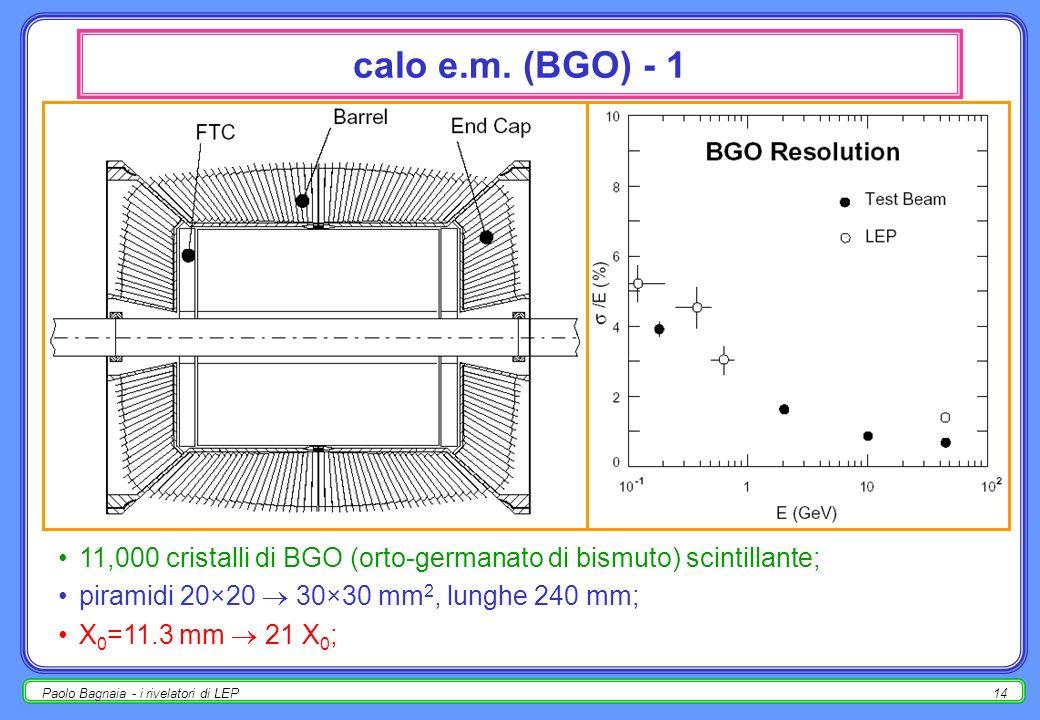 calo e.m. (BGO) - 1 11,000 cristalli di BGO (orto-germanato di bismuto) scintillante; piramidi 20×20  30×30 mm2, lunghe 240 mm;