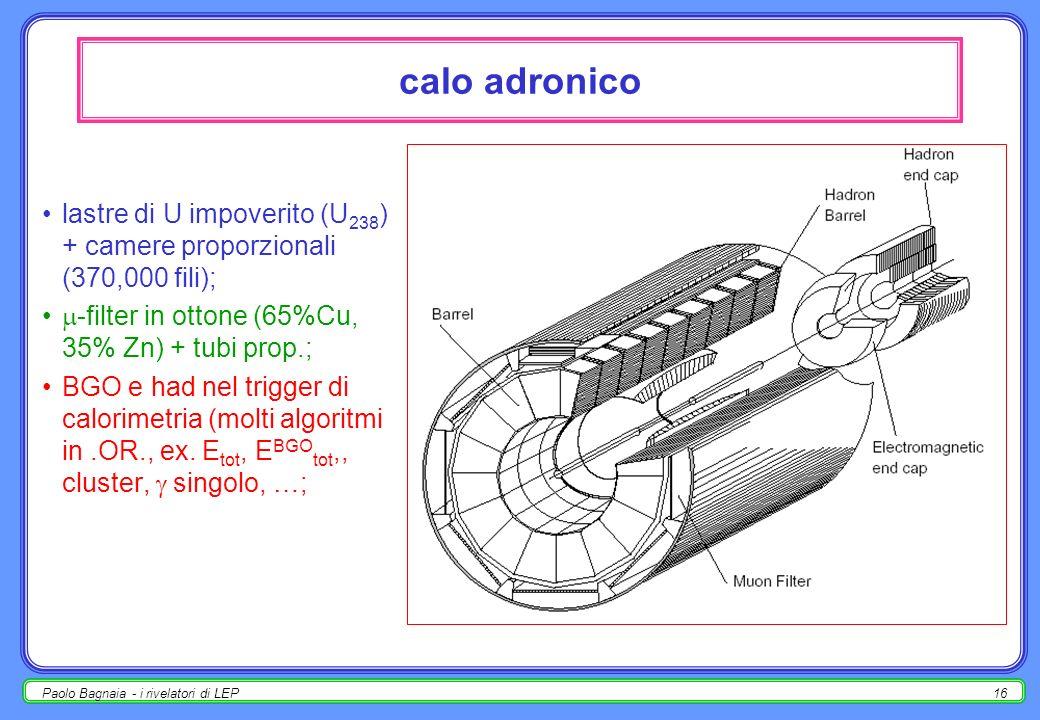 calo adronicolastre di U impoverito (U238) + camere proporzionali (370,000 fili); -filter in ottone (65%Cu, 35% Zn) + tubi prop.;
