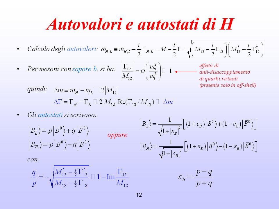 Autovalori e autostati di H