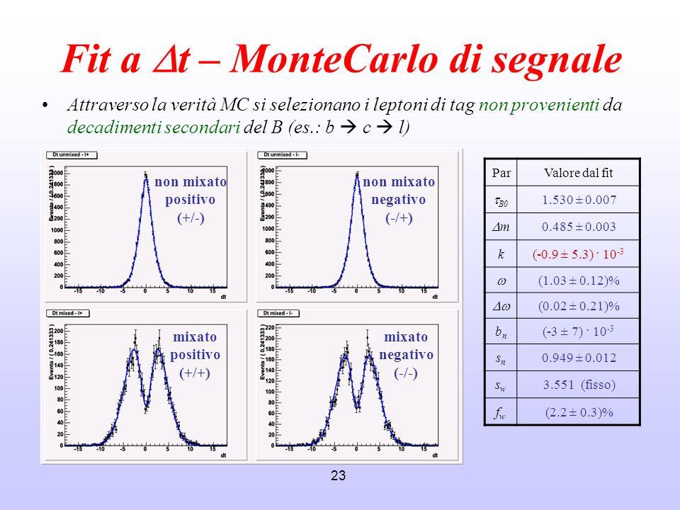 Fit a Dt – MonteCarlo di segnale