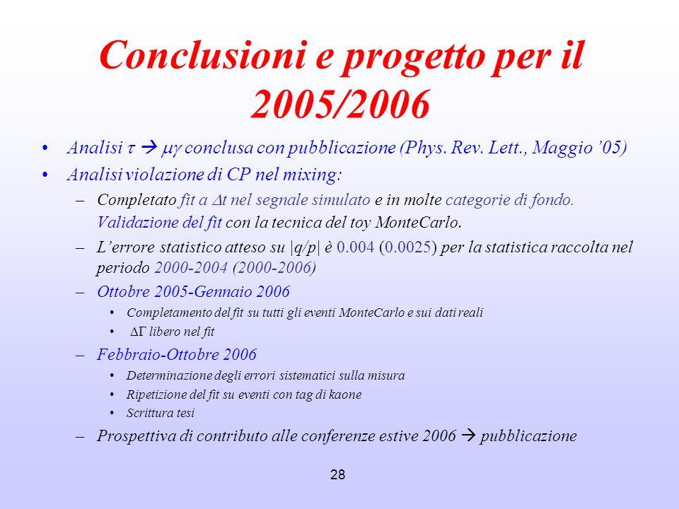 Conclusioni e progetto per il 2005/2006