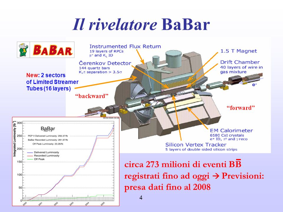 Il rivelatore BaBar New: 2 sectors. of Limited Streamer. Tubes (16 layers) backward forward