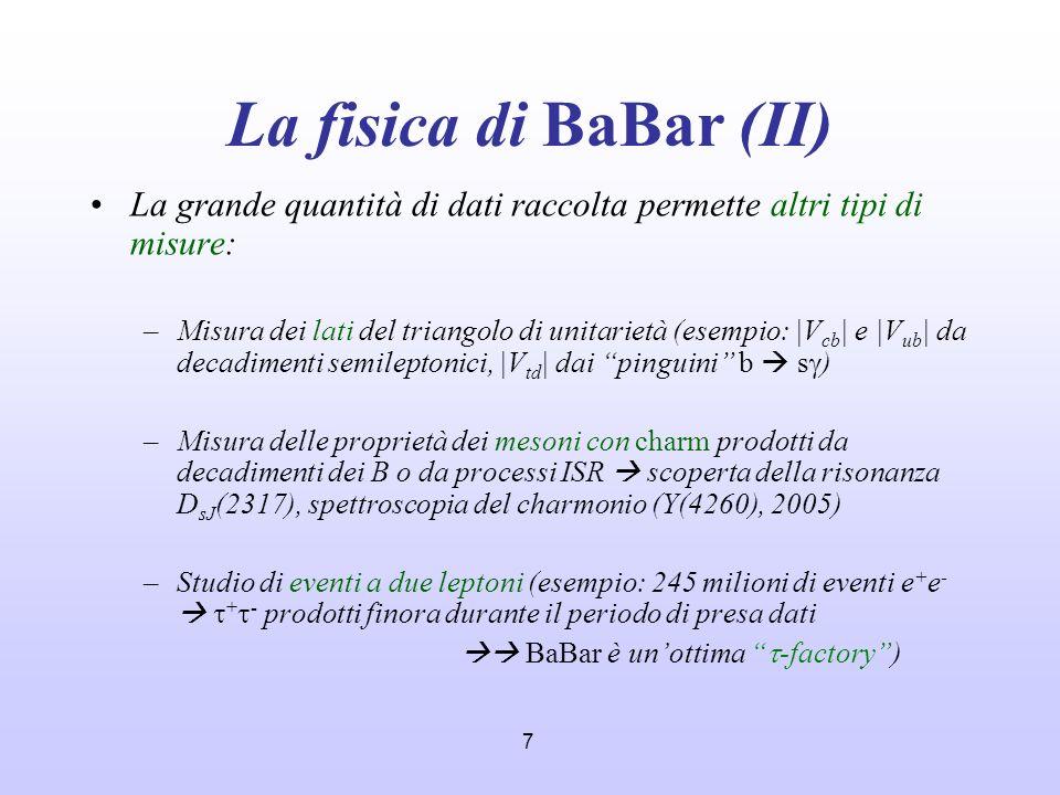 La fisica di BaBar (II) La grande quantità di dati raccolta permette altri tipi di misure: