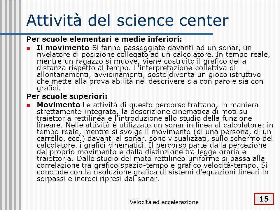 Attività del science center