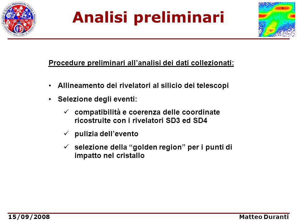 Analisi preliminari Procedure preliminari all'analisi dei dati collezionati: Allineamento dei rivelatori al silicio dei telescopi.