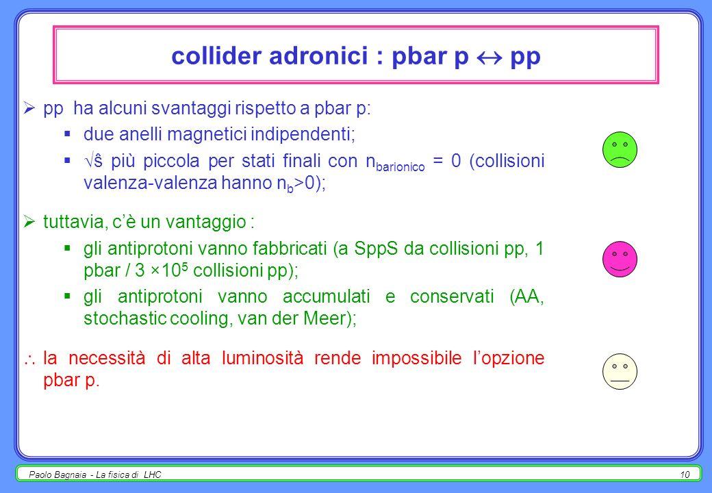 collider adronici : pbar p  pp