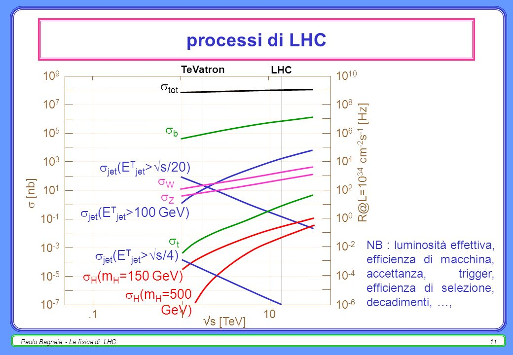processi di LHC tot b jet(ETjet>s/20) W Z