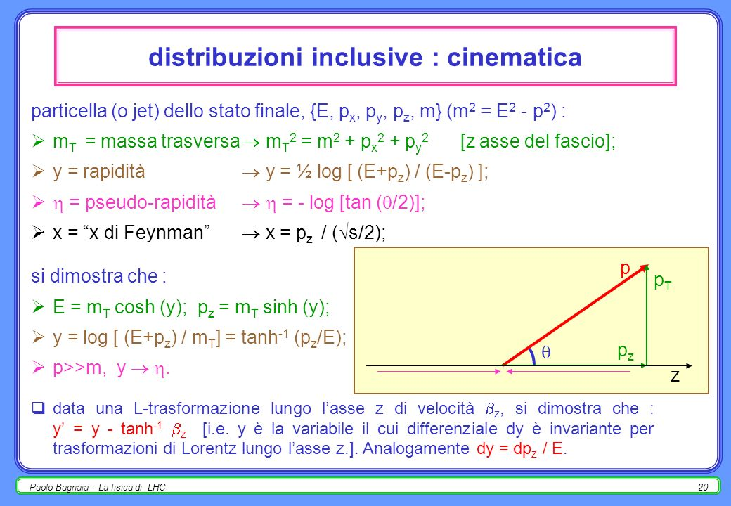 distribuzioni inclusive : cinematica