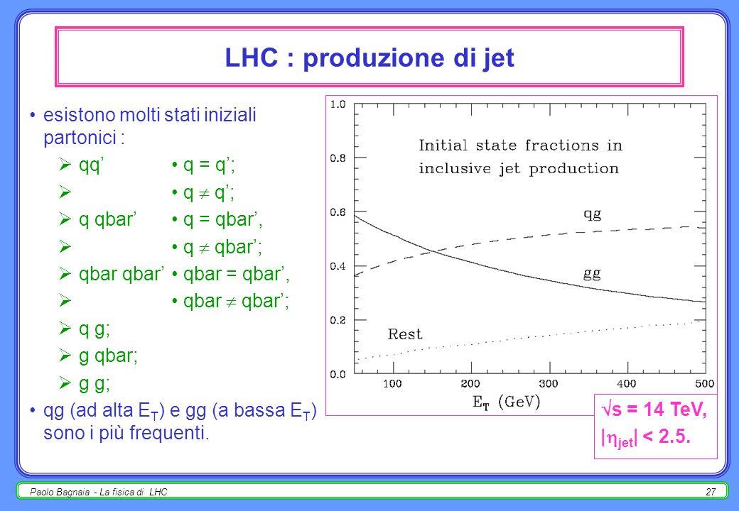 LHC : produzione di jet esistono molti stati iniziali partonici :