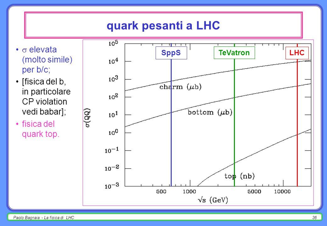 quark pesanti a LHC  elevata (molto simile) per b/c;
