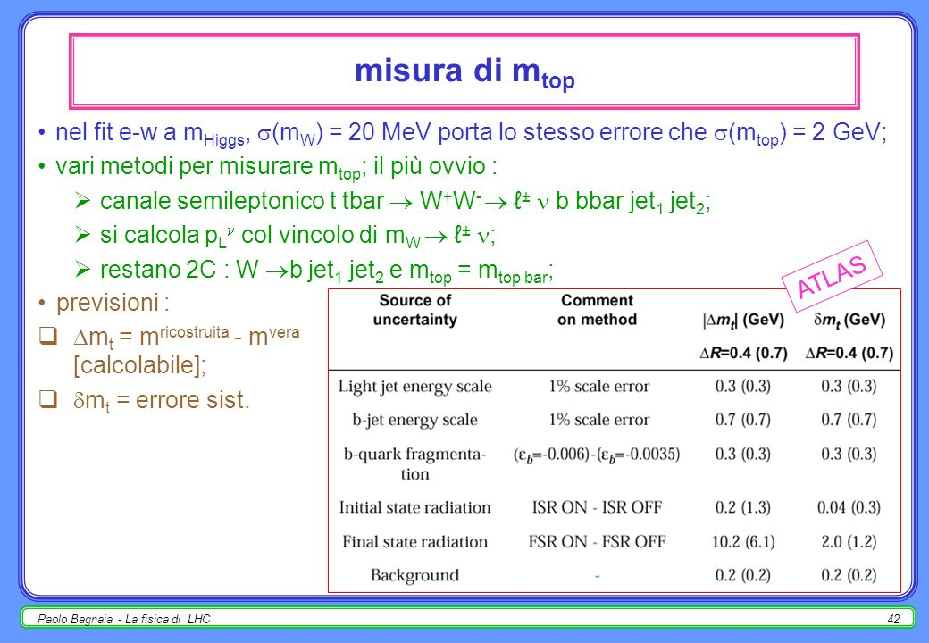 misura di mtop nel fit e-w a mHiggs, (mW) = 20 MeV porta lo stesso errore che (mtop) = 2 GeV; vari metodi per misurare mtop; il più ovvio :
