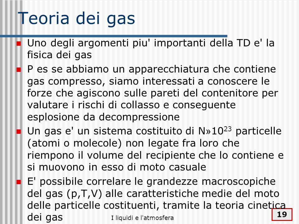 Teoria dei gas Uno degli argomenti piu importanti della TD e la fisica dei gas.