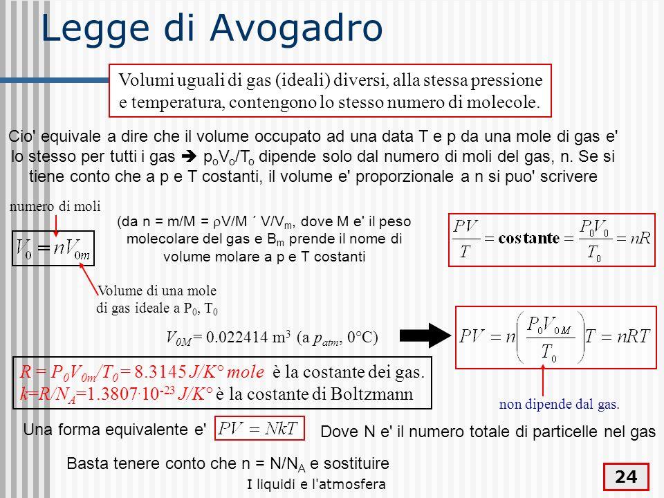 Legge di Avogadro Volumi uguali di gas (ideali) diversi, alla stessa pressione e temperatura, contengono lo stesso numero di molecole.