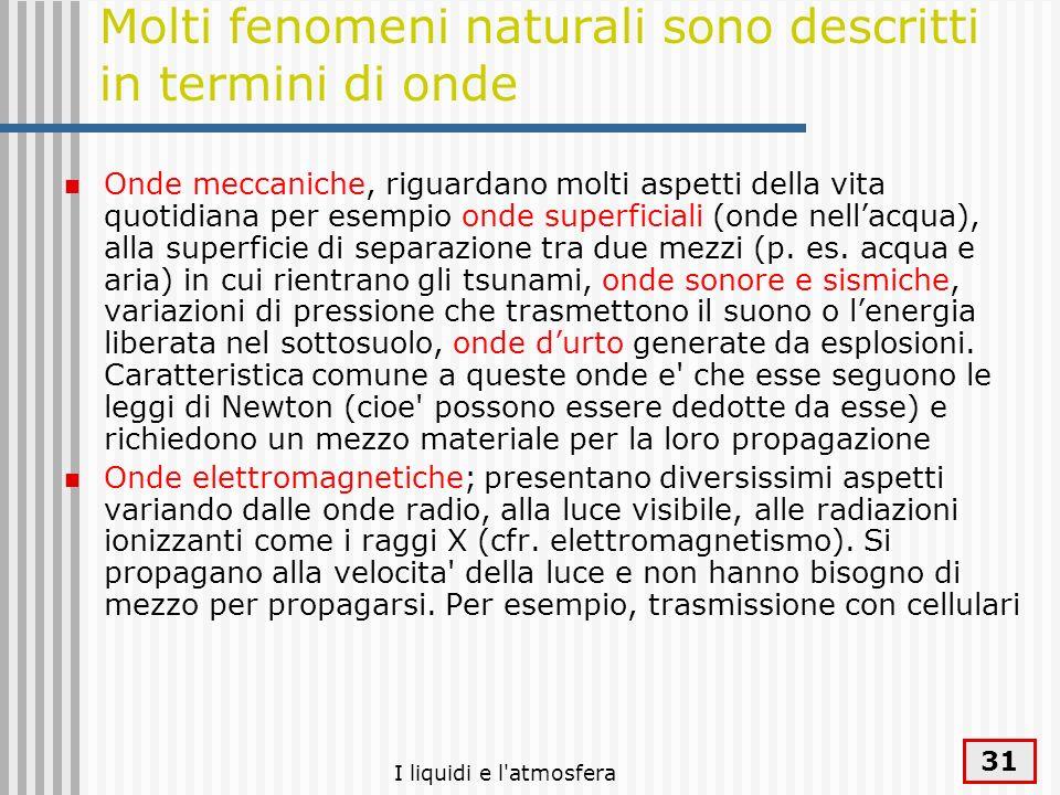 Molti fenomeni naturali sono descritti in termini di onde
