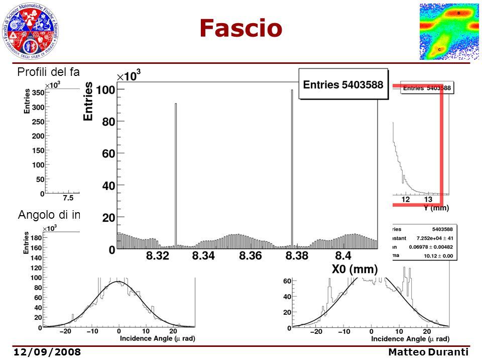 Fascio Profili del fascio nelle due coordinate trasverse: