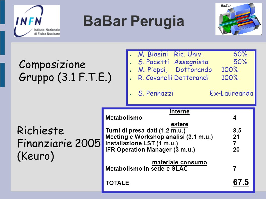 BaBar Perugia Composizione Gruppo (3.1 F.T.E.) Richieste