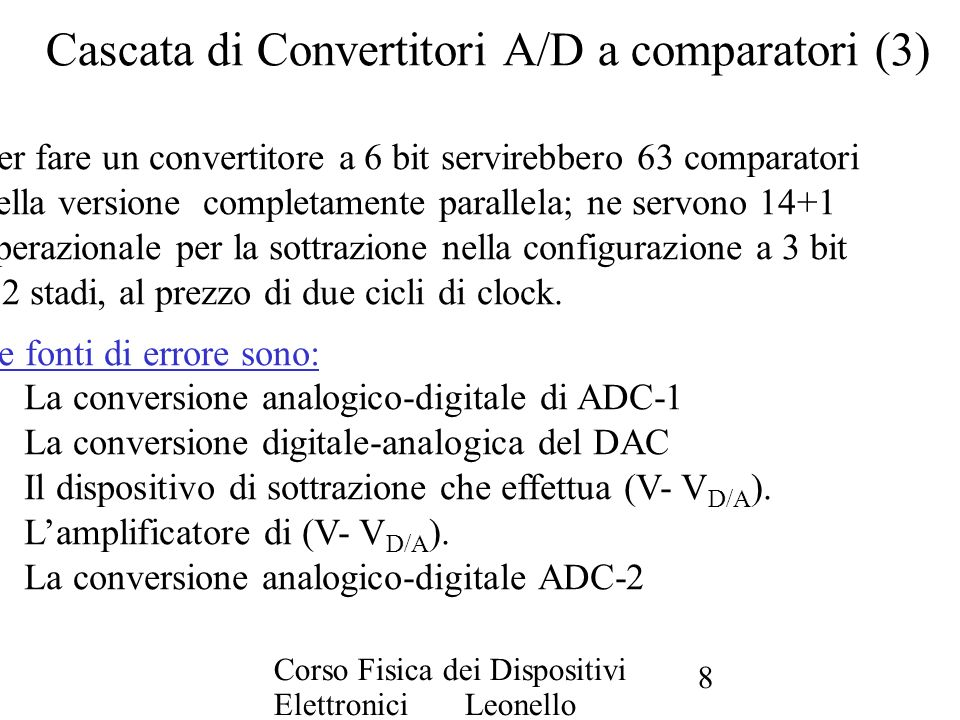 Cascata di Convertitori A/D a comparatori (3)