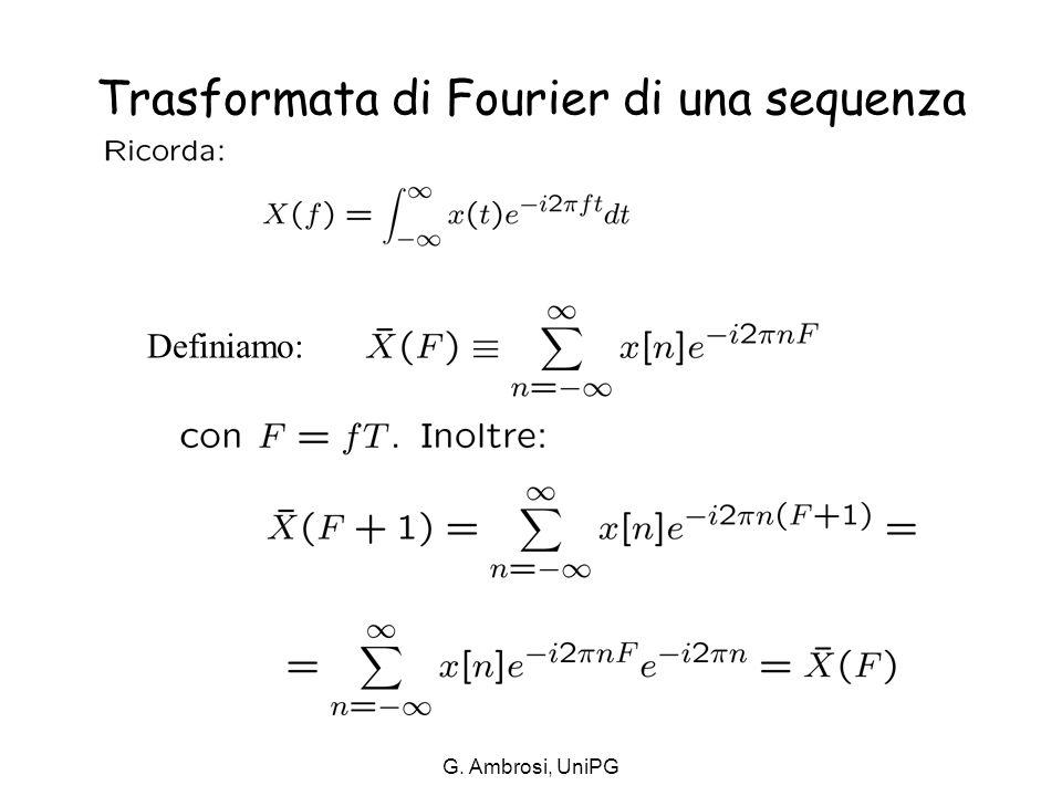 Trasformata di Fourier di una sequenza