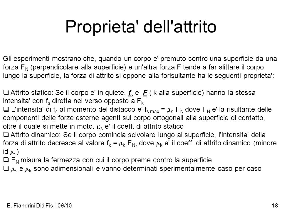 Proprieta dell attrito