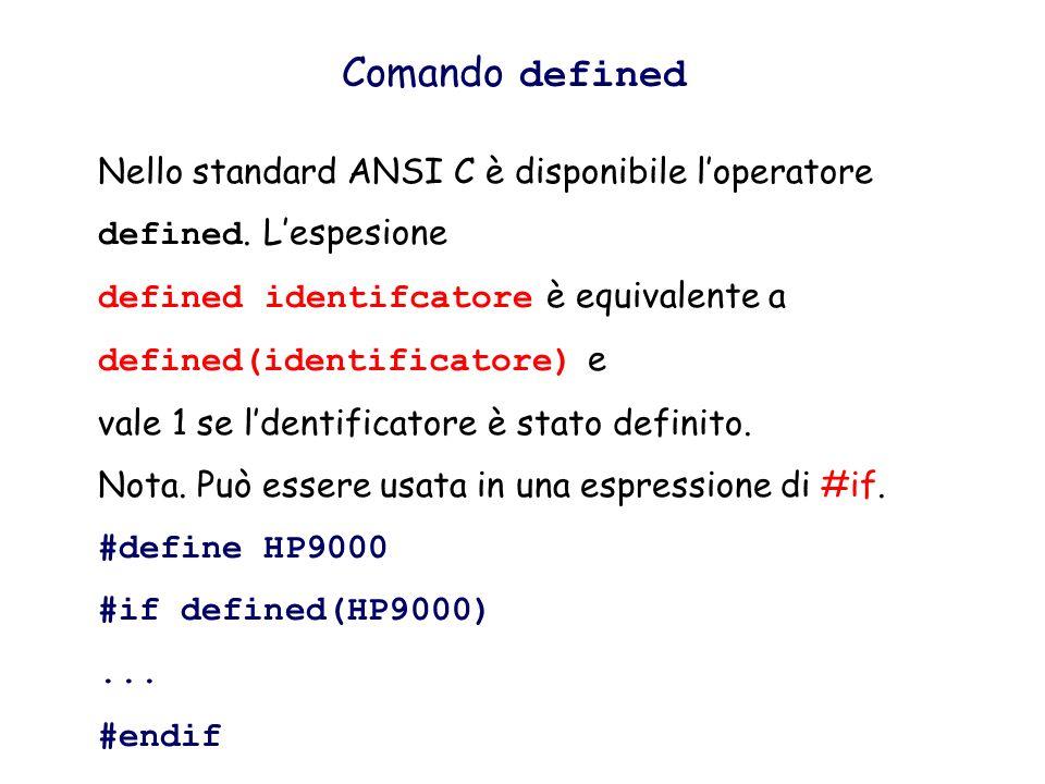 Comando defined Nello standard ANSI C è disponibile l'operatore