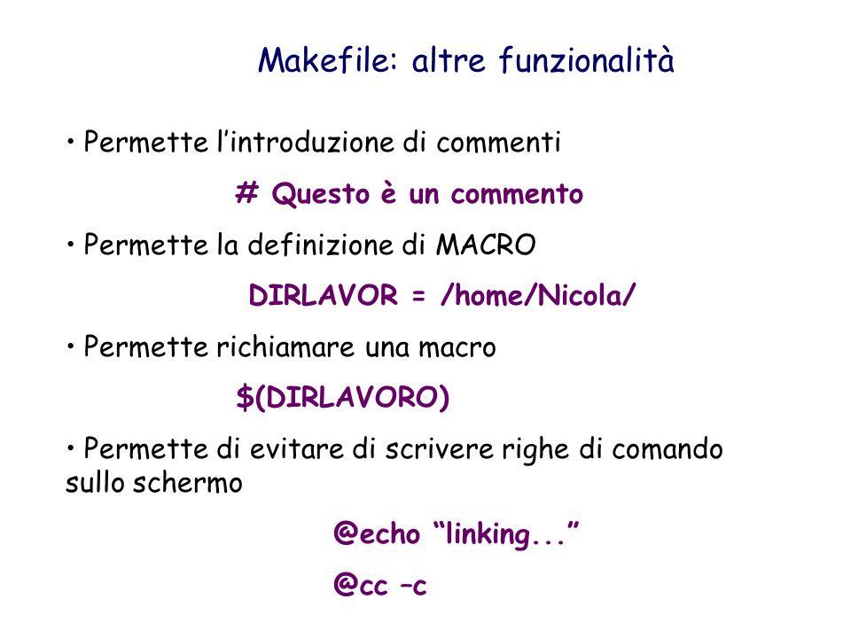 Makefile: altre funzionalità