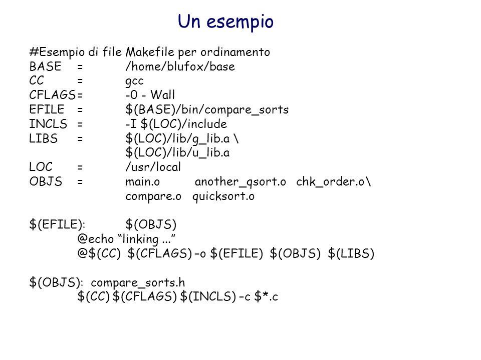 Un esempio #Esempio di file Makefile per ordinamento