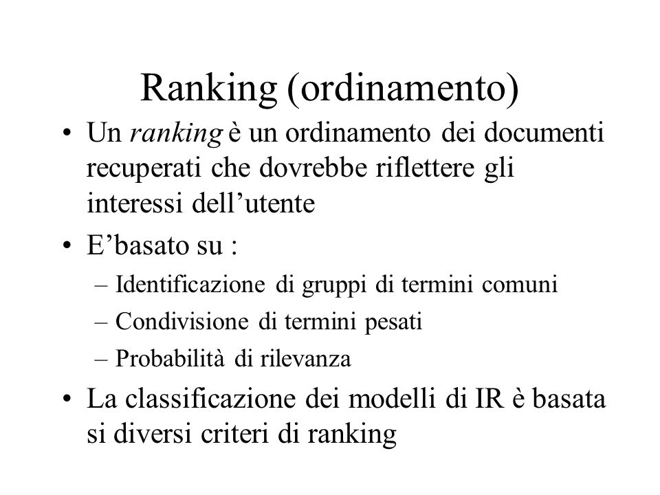 Ranking (ordinamento)