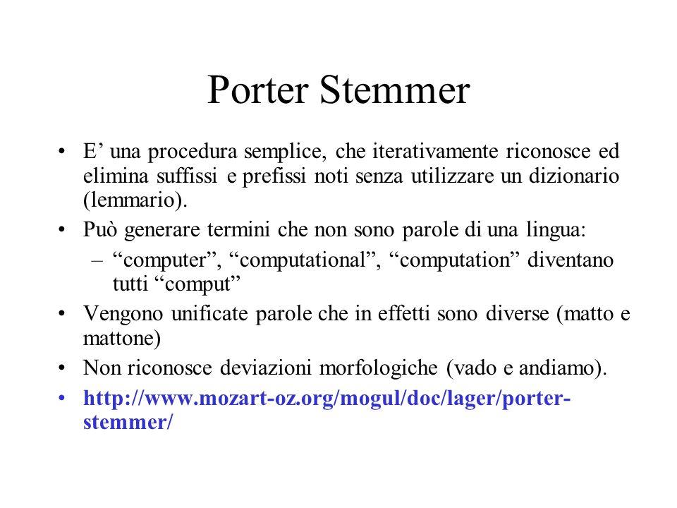 Porter Stemmer E' una procedura semplice, che iterativamente riconosce ed elimina suffissi e prefissi noti senza utilizzare un dizionario (lemmario).