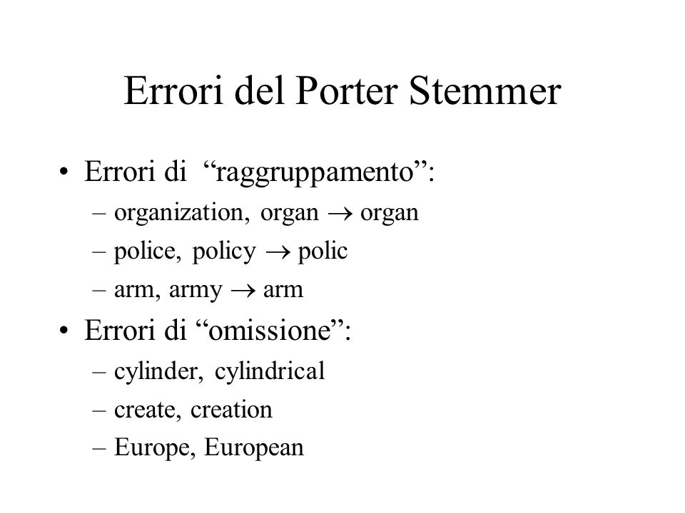 Errori del Porter Stemmer
