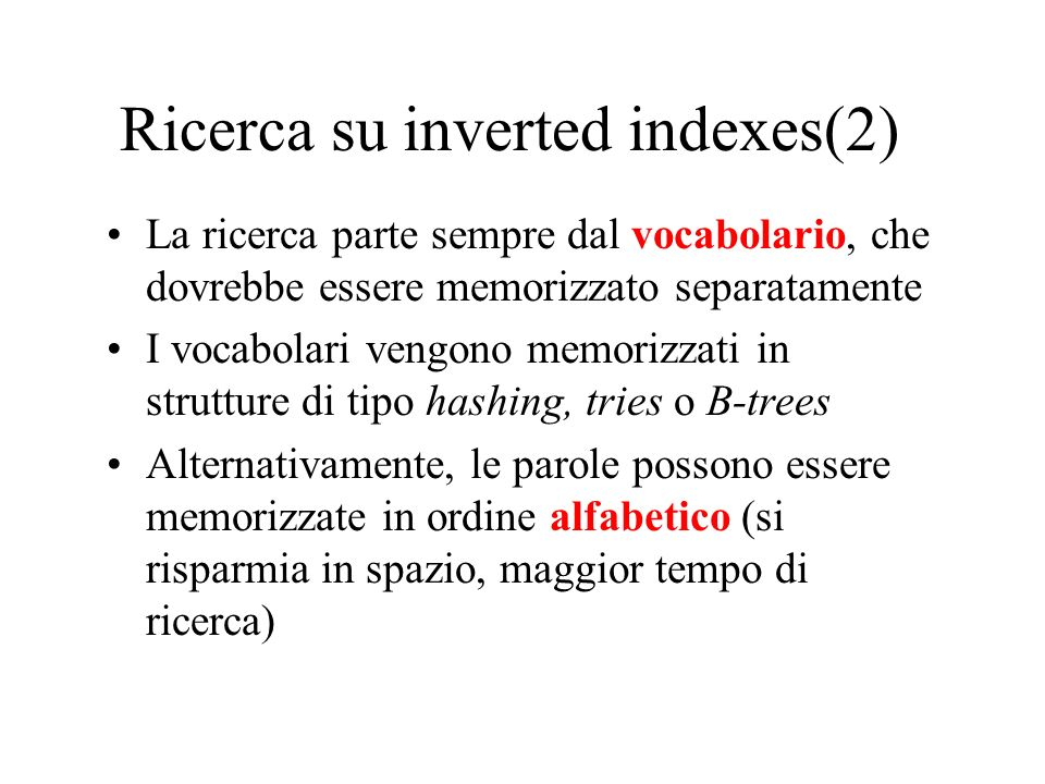 Ricerca su inverted indexes(2)