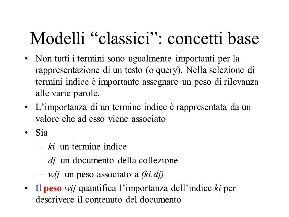 Modelli classici : concetti base